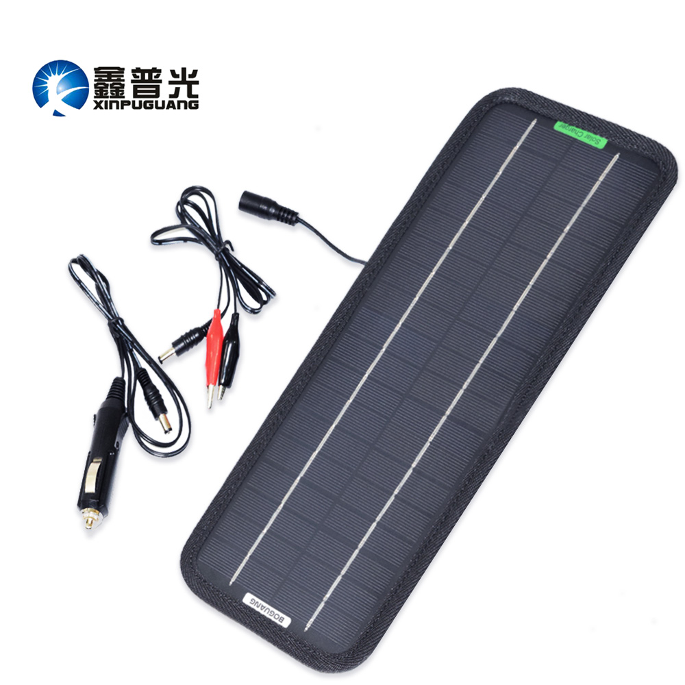 Xinpuguang <font><b>5W</b></font> 18V <font><b>Solar</b></font> <font><b>Panel</b></font> Mono Cell Maintainer Charger for <font><b>12V</b></font> Battery Car Cigarette Lighter Charging Alligator 325*125mm image