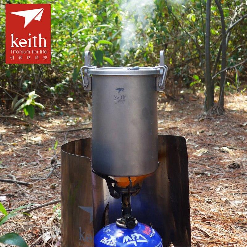 Keith 900 ml Pot de cuisson en titane Camping en plein air randonnée pique-nique cuiseur à riz vaisselle ustensiles de cuisine Portable Sauce Pot Ti6300