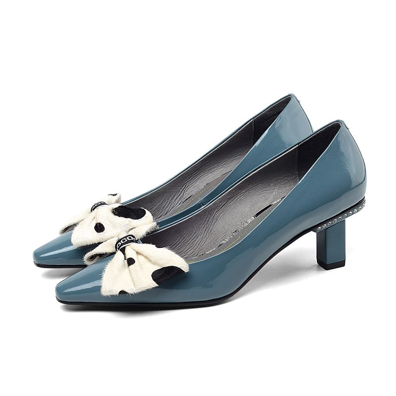 Image 4 - ALLBITEFO sweet bowtie full genuine leather high heels office ladies shoes high quality women high heel shoes women heels-in Women's Pumps from Shoes