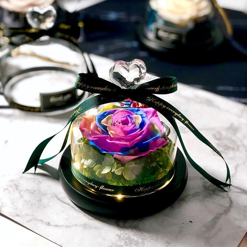 Новинка, красивая и чудовищная Роза в стеклянном куполе, светодиодный светильник, украшение для дома на День святого Валентина, рождественские подарки - Цвет: Multi-colored Love