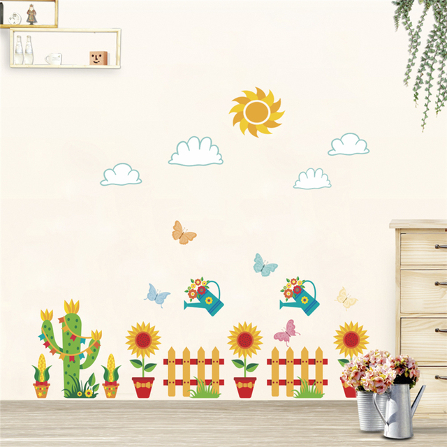 colorful plants flower garden potted wall stickers for kids rooms