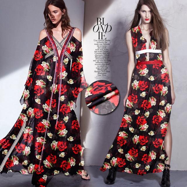 Lang D523 Rose Druck Dünne Us33 Stoff Kurz Chiffon Sommer 135 Und Hemd 8mm Für Rote Kleid Kleidung Cm Breite 0135 Seide Schwarz In zSMUpqVjLG