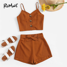ROMWE Soild Button Front Cami Tops With Belted Shorts Women Sets Summer Boho Sleeveless Camisole Wide Leg Bottoms Two-Pieces Set self belted wide leg shorts