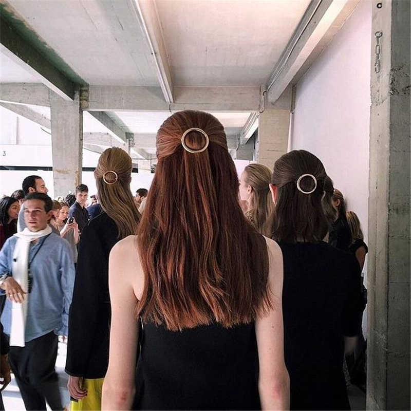 Yeni moda kadınlar kızlar altın gümüş kaplama Metal hayvan daire ay saç klipleri Metal daire tokalar tutucu saç aksesuarları