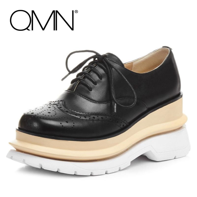 QMN women genuine leather platform flats Women Cow Leather Oxfords Retro Square Toe Brogue Shoes Woman Leather Flats Creepers  qmn women genuine leather flats women horsehair loafers retro square toe slip on flat platform shoes woman creepers 34 42