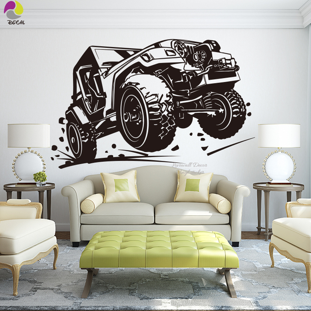 new off road vehicle racing car wall sticker baby nursery ford bmw