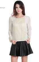 Spring Summer Women Sheer Blouses Long Sleeve Embellished Chiffon Shirts Tops White/ Apricot 4 Sizes b7