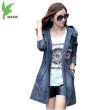 High Quality Female Denim Jacket Windbreaker Spring Hooded Coat Fashion Casual Tops Cardigan Slim Outerwear Plus