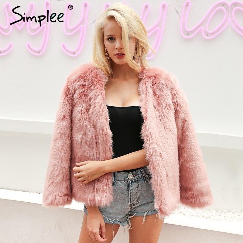 Simplee Quente chic rosa fofo coelho da pele do falso casaco de pele das mulheres de Outono casaco de inverno feminino Moda streetwear outerwear casaco