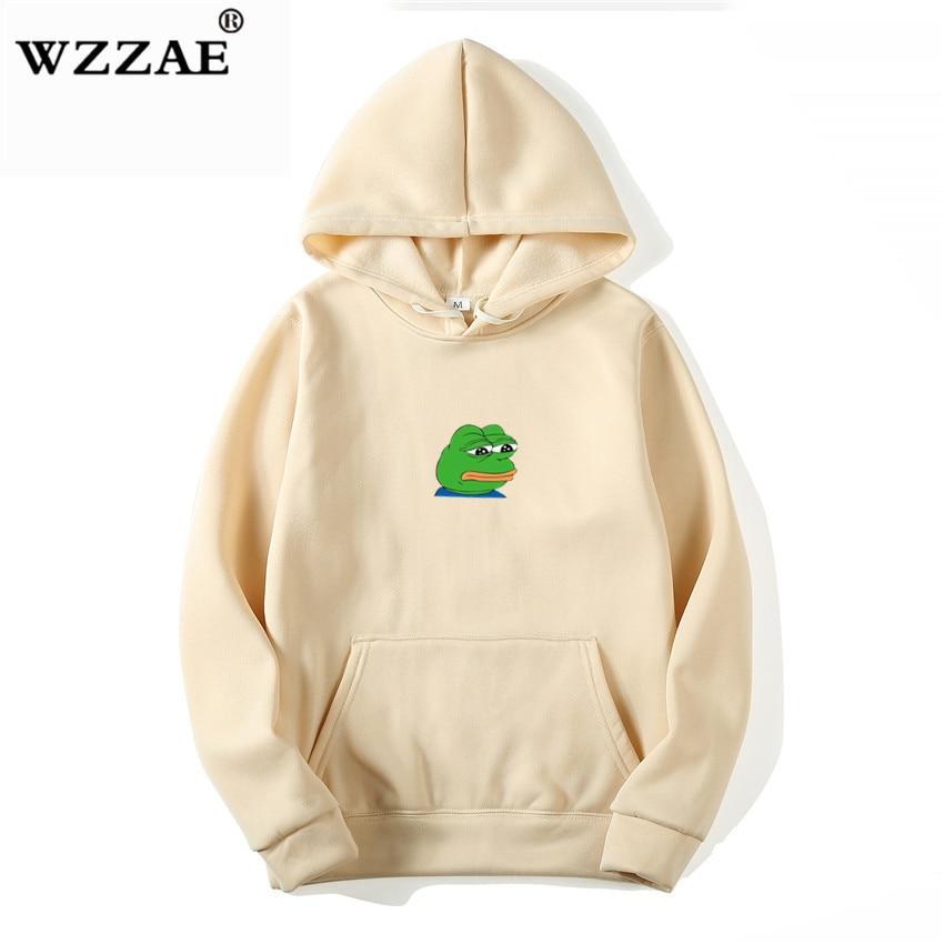 2019 New Sad Frog Print Casual HOODIE Hip Hop Street Wear Sweatshirts Skateboard Men/Woman Pullover Hoodies Japanese Hoodies