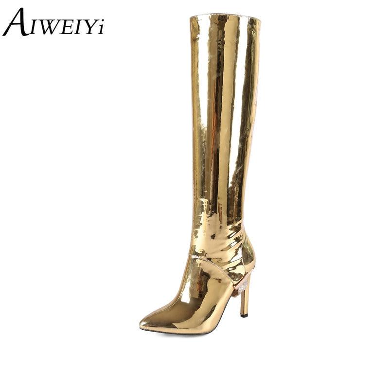 AIWEIYi au-dessus du genou bottes hautes or argent talons aiguilles bottes de mode Sexy talons hauts grande taille bout pointu chaussures femme