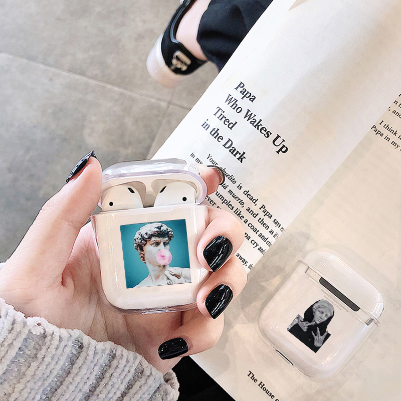 Cute Case For Apple Airpods Case Cartoon Funny Statue Art Wireless Bluetooth Earphone Case For Airpods 1/ 2 Soft Protective Case