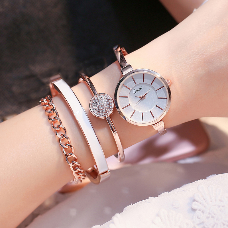 Cacaxi Luxury Women Watches 2017 Alloy Gold Jewelry Bracelet