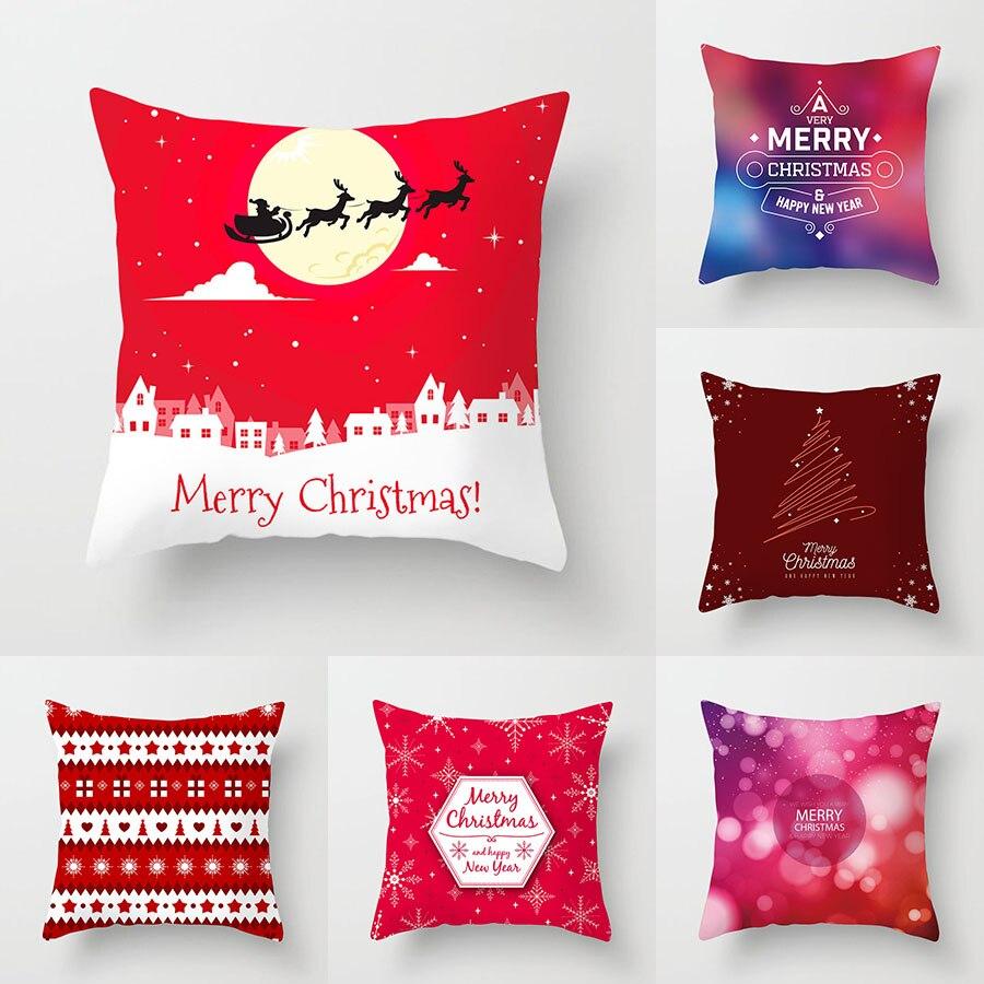 YWZN Merry Christmas Decorative Pillowcases Polyester Christmas Santa Claus Throw Pillow Case Cover Pillowcase Funda De Almohada