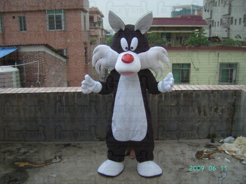 hand make cartoon cat walking actor hot sale cat mascot costumes black and white cat costumes