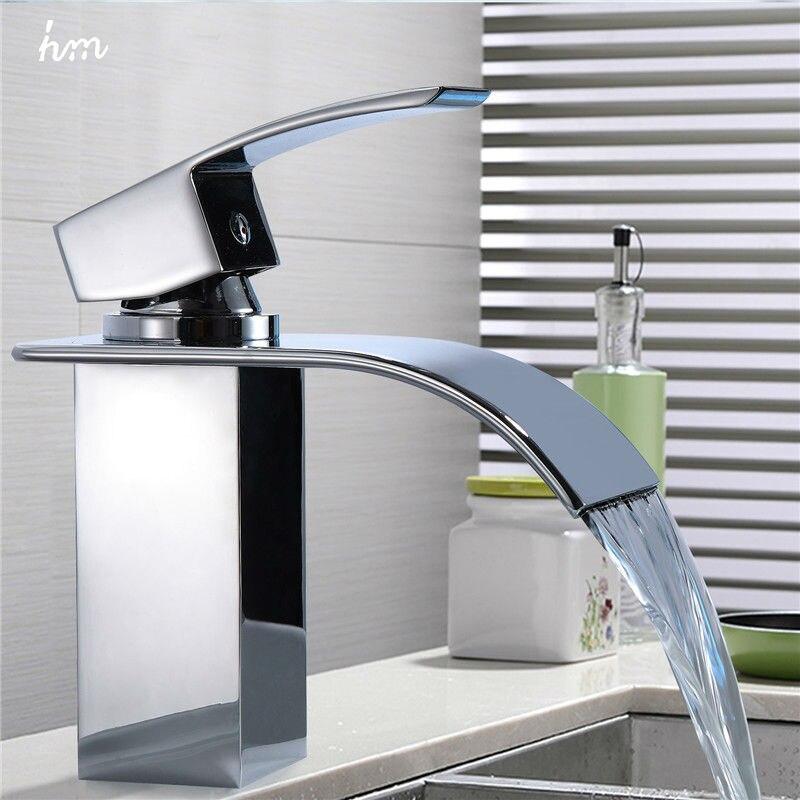 Водопад раковина кран хром одной ручкой одно отверстие смеситель ванная комната краны широкое Смесители бассейна происхождения Guandong Китай
