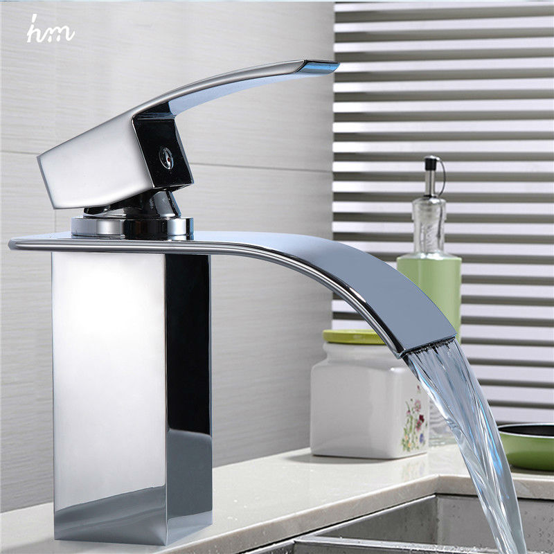 Waterfall Sink Faucet Chrome Single Handle Single Hole Mixer Bathroom Taps Widespread Basin Faucets Origin Guandong China