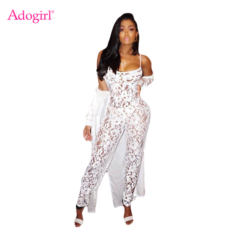 Adogirl 2018 Summer White Lace Jumpsuits for Women Sexy See Through Spaghetti Straps Full Length Rompers Night Club Overalls