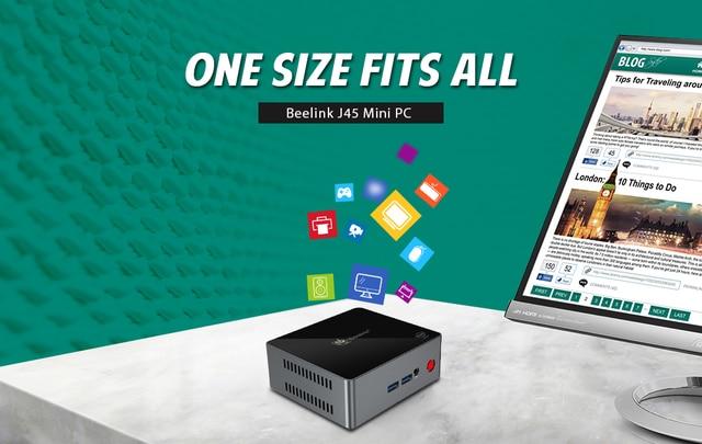 Beelink J45 8GB 128GB J4205 Genuine Windows 10 Mini PC 128/256/512GB 2.4GHz+5.8GHz WiFi BT4.0 Support Netfix 4K H.265 3