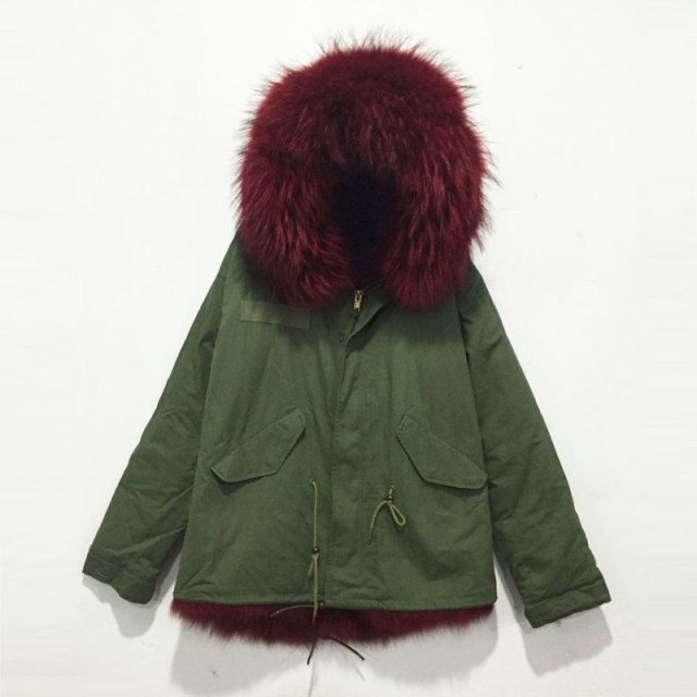 Wine red full fox fur inside lining winter jacket Army green parka ...