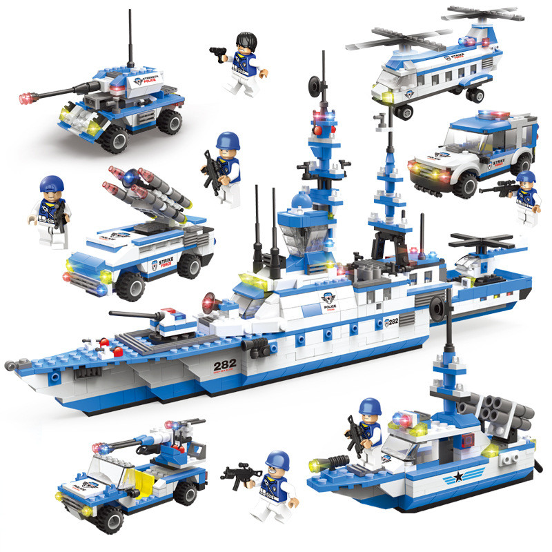 2019 NEW 6IN1 Coast Guard Corps Frigate Bricks Compatible LegoINGs Military ARMY Soldiers Building Blocks Sets Toys For Children