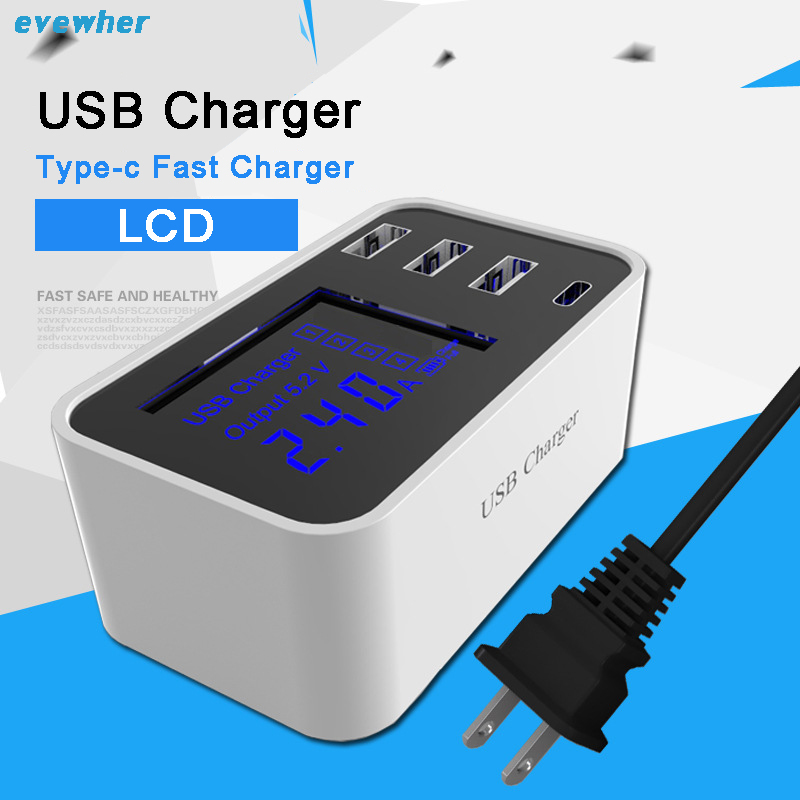 Quick Charge Smart Mobile Phone USB Charger 3 Port USB Type-C Fast Charging Wall Power Adapter Led Display Desktop