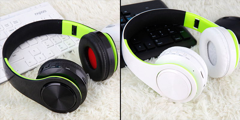 Foto of black/green and white/green Wireless foldable headphones with mic. Foldable wireless earphones for mp3