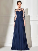 Navy Blue O-Neck Lace A-line Party Gowns 2019 Long Sleeves Appliqued Party Gowns Evening Dresses Long Prom Dreses