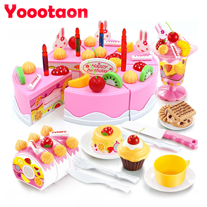 75pcs Diy Cutting Birthday Cake Pretend Play Kitchen Food