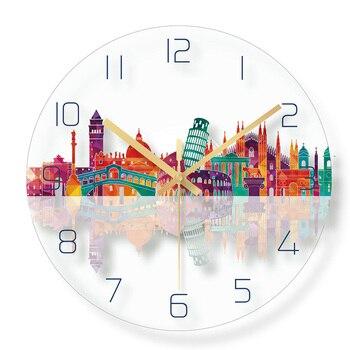 Immeubles De Grande Hauteur Horloge Murale New York Ville Unique Créatif Salon Décor Simple Décoratif Mur Verre Horloges