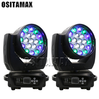 2pcs per carton dmx lyre moving head wash zoom led 19x15w rgbw 4in1 quad color mobile lighting