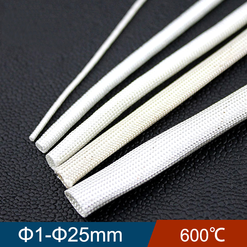 20M 1mm 2mm 3mm Diameter 600 Deg High Temperature Braided Soft Chemical Fiber Tubing Insulation Cable Sleeving Fiberglass Tube