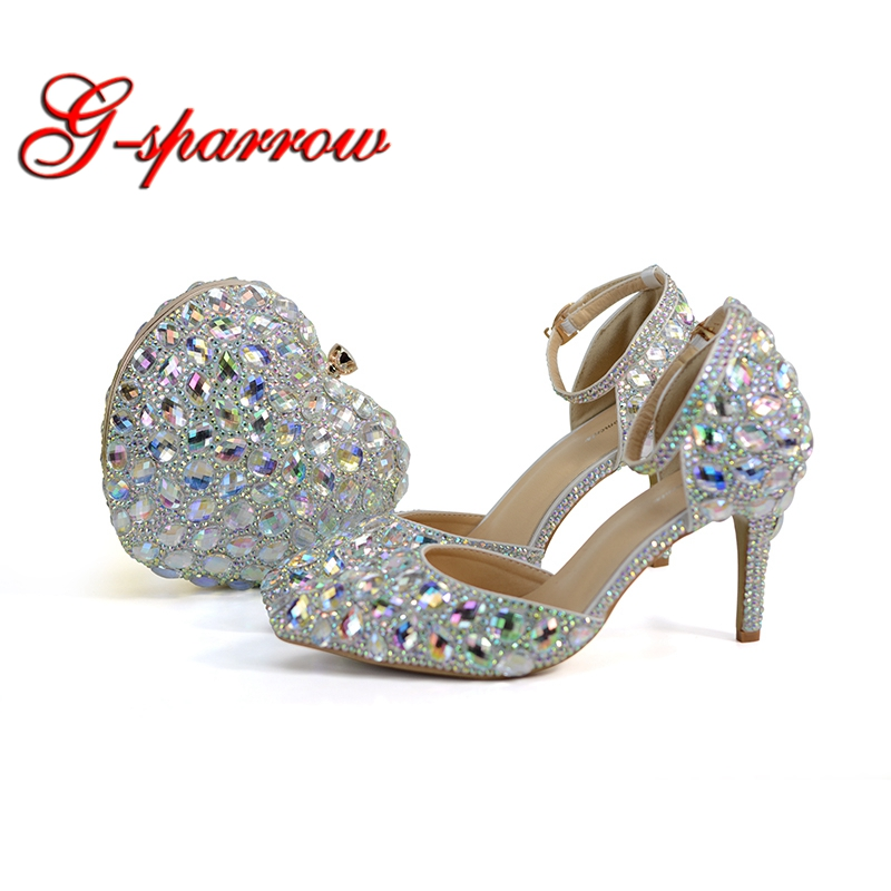 Pointed Toe Bride Wedding Shoes with Matching Bag Blingbling AB Crystal Bridal  Dress Shoes 3 Inches f1f1659553d2