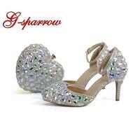 Острый носок Свадебные туфли для невесты с подходящая Сумочка Blingbling Crystal AB Свадебная обувь 3 дюйм(ов) обувь для матери невесты
