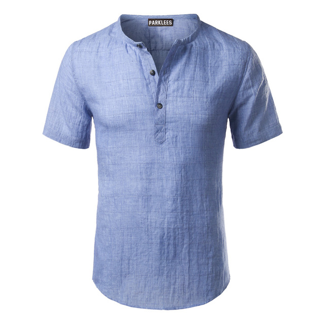 Cotton Linen Shirt Men 2017 Brand Short Sleeve Mens Henley Shirt ...