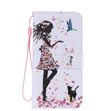 Soznoc PU Leather case for Samsung Galaxy S7 S6 edge plus S5 S4 S3 mini phone different painted wallet Case cover with lanyard