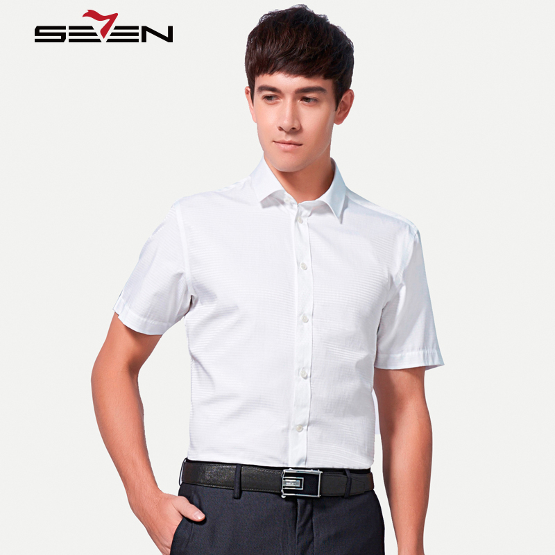 Seven7 Summer Men Dress Shirts Short Sleeve Argyle Graphic Business Casual Shirts with Packet Polyester Slim Shirts 110A30170