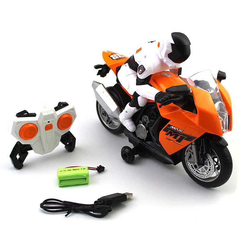 2.4Ghz Rc Motorcycle Stunt Drift Music Led Light Rc Motorbike Model Toys Remote Control Motor Toys For Children Gift,White