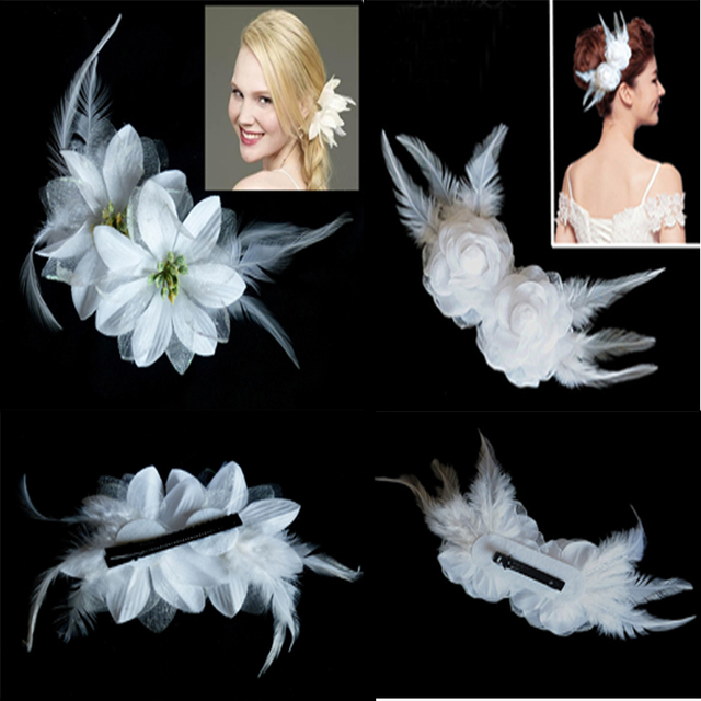 New arrived wedding party white feather lily flower hair pins and new arrived wedding party white feather lily flower hair pins and clips girl barrette hair claws mightylinksfo