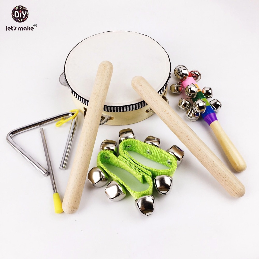 Let's Make 8pcs Baby Montessori Toys Wooden Drum Rattles Bell Children Toys Gift Toys 50pcs hot sale wooden intelligence stick education wooden toys building blocks montessori mathematical gift baby toys