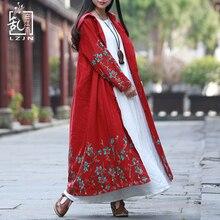 LZJN Женская куртка и пальто хлопок винтажная ветровка китайский длинный плащ пальто с капюшоном плащ Вышивка Кардиган PX12152