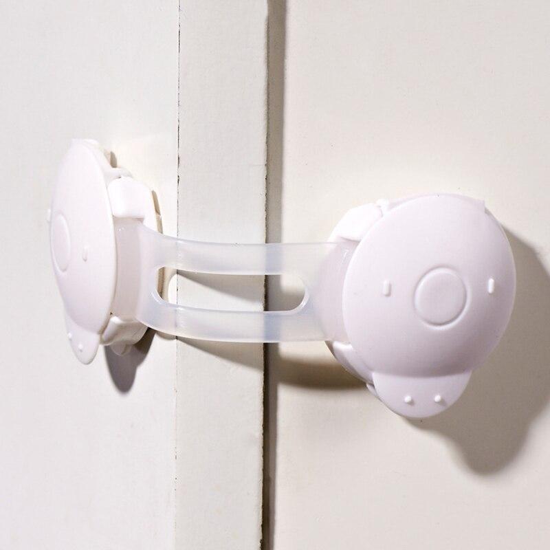 6 unids Blanco Plástico Del Bebé Niños Armario Archivador Puerta de Protección de Seguridad Higiénico Refrigerador Cajón Cerraduras de Seguridad de Productos