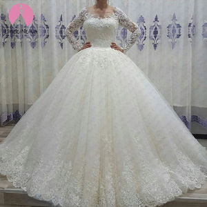Image 1 - Vestido De Noiva See Through Bodice Sexy Robe De Mariee 2019 Long Tail Bride Gowns Brautkleid Scoop Long Sleeves Wedding Dresses