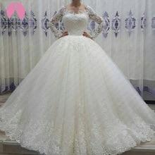 Vestido de noiva bodice 섹시한 로브 드 마리에 2019 롱 테일 신부 가운 brautkleid scoop 긴 소매 웨딩 드레스