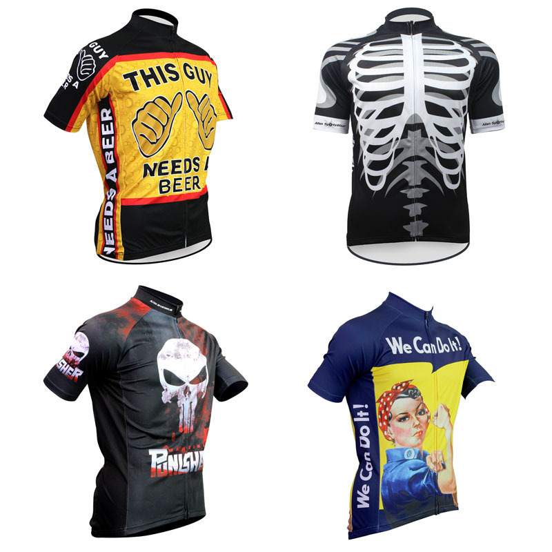 Classical Retro Cycling Jersey Skull/Rosie Riveter/Punisher/ Beer Clothing Short Sleeve Bike Shirts Alien - cycling jerseys' store