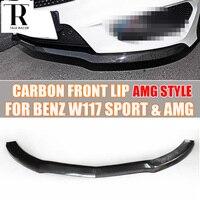 W117 c117 amg estilo fibra de carbono frente spoiler para benz c117 w117 cla200 cla220 cla260 & cla45 amg 13 15 pré facelift front lip spoiler lip spoiler carbon fiber front lip -