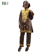 Free Shipping 2017 Hot Sale New Fashion African Bazin For Women Three Piece Embroidery Decoration