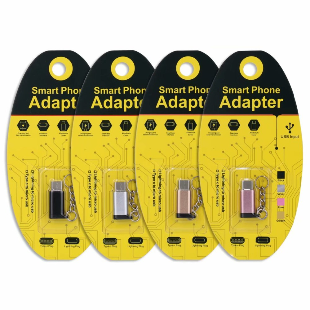 1PC 2PC OTG Adapter Micro USB To Type-C Type C Sync Data Charger Type-C USB To Lighting Converter With Key Chain