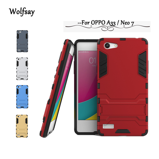 great fit a739e 98895 US $2.68 37% OFF|Wolfsay OPPO A33 Case OPPO A 33 Luxury Armor Rubber Hard  Back Phone Case For OPPO A33M Back Cover For Oppo Neo 7 Coque Fundas-in ...