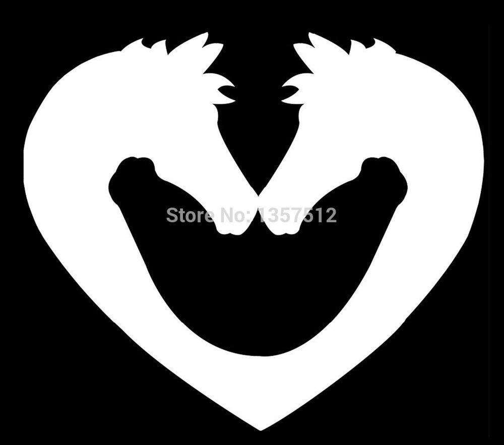 Hotmeini 14x12 см сердце лошади любовь Конный автомобиля Стикеры для грузовик окно бампер двери каяк виниловая черный/ серебристые